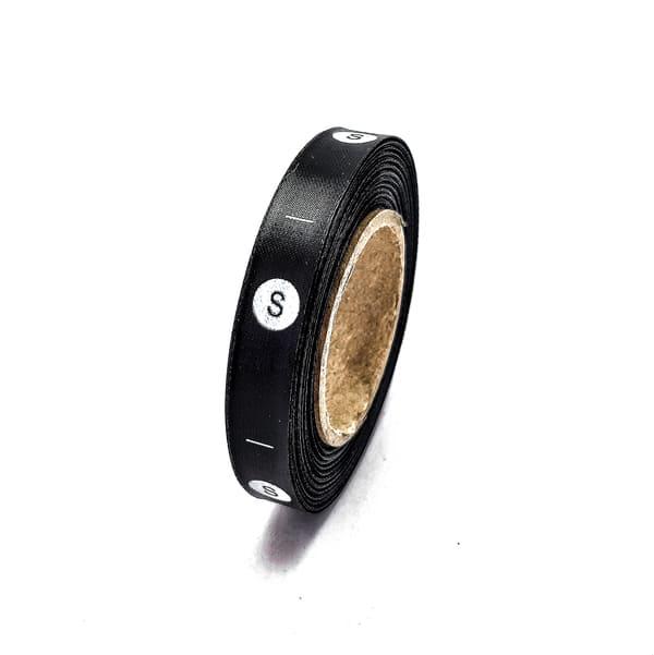 Размерник накатанный сатиновый черный - S, 1см