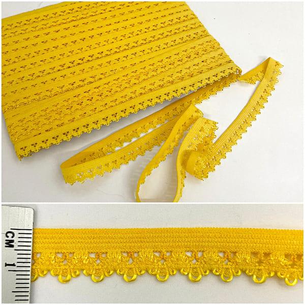 резинка ажурная бельевая желтая, 14 мм