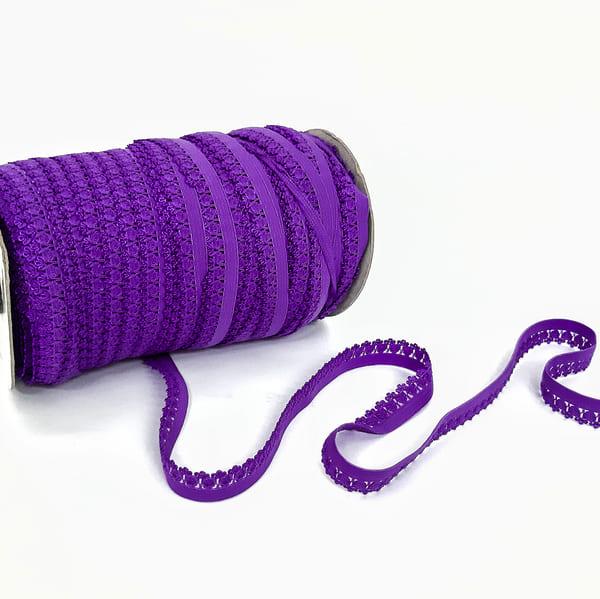 Резинка бельевая ажурная фиолетовая, 16 мм