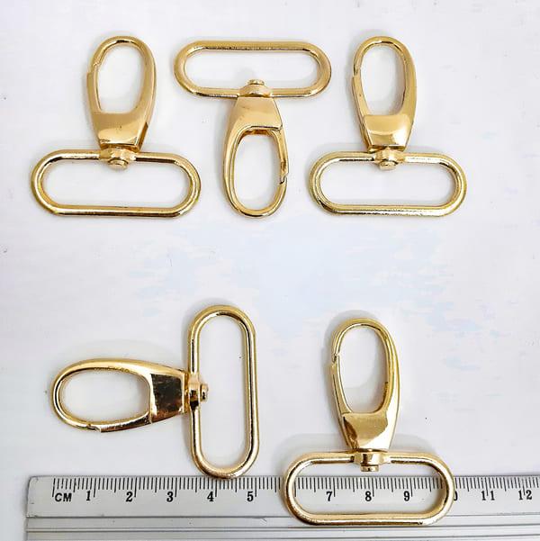 Карабин золотой, 38х50 мм, металл