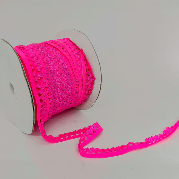 Резинка бельевая ажурная розовая неон, 18 мм