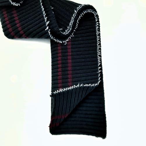Резинка довяз,черная+2 бордовые полоски
