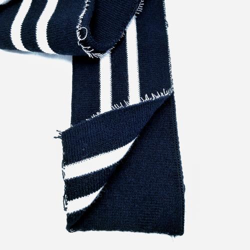 Резинка манжетная довяз, темно-синяя + 2 белых полоски