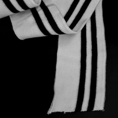 Резинка манжетная довяз, белая + 2 черных полоски