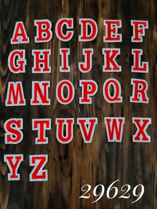 аппликация Английские буквы, красные