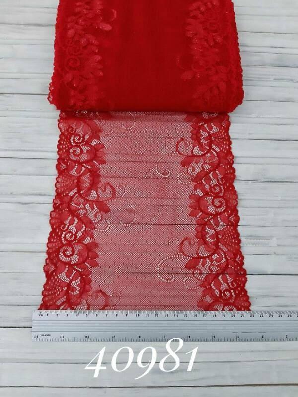 Кружево французское, красное 21 см