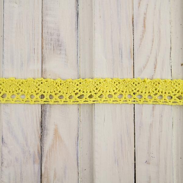 кружево кроше желтое, 1 см