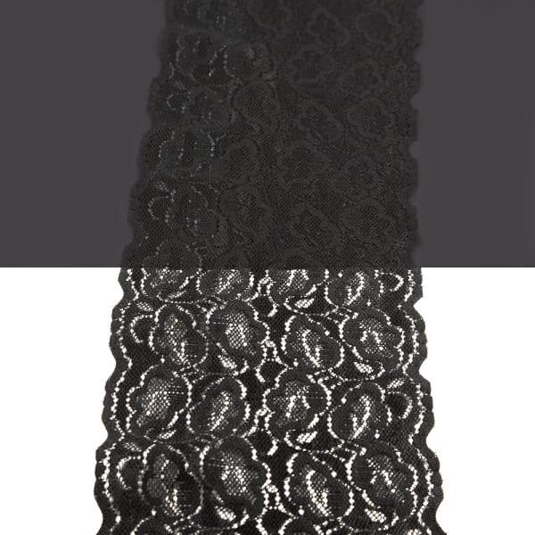Кружево Италия черное с силиконом, 14 см