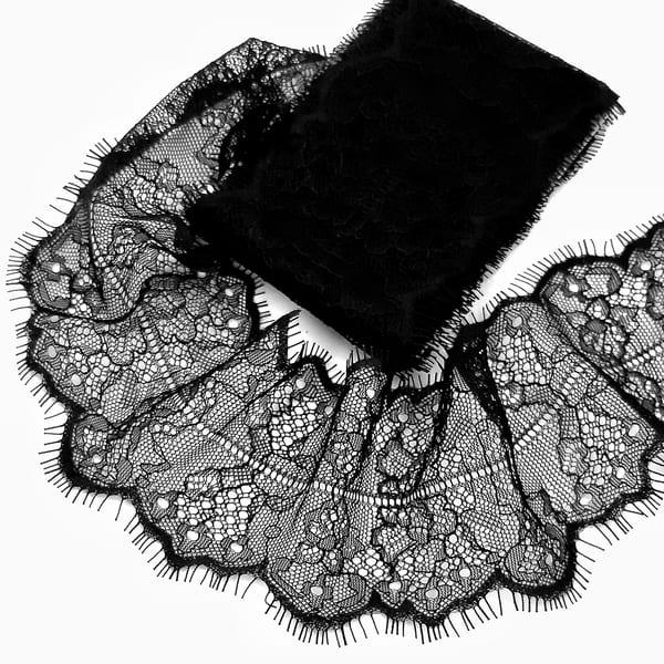 Кружево Zira шантильи, черное  7 см