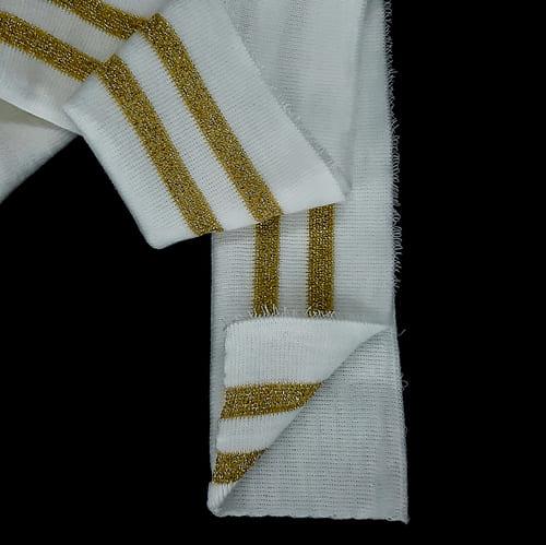 резинка довяз ластик, белый+2 золотых полоски