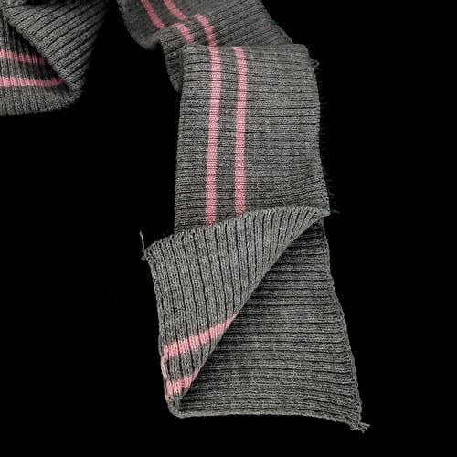 резинка довяз, серая + 2 розовых полоски