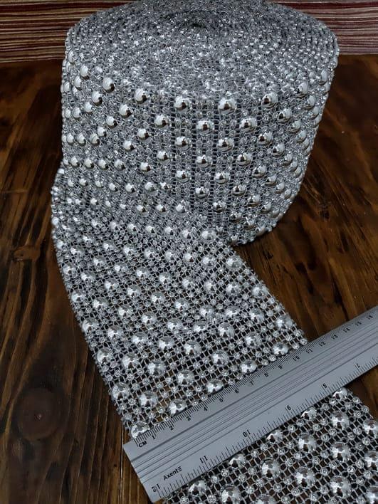 Лента серебряный полужемчуг + стразы,12 см