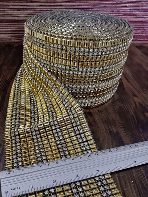 Лента золотые фрагменты + стразы,12 см