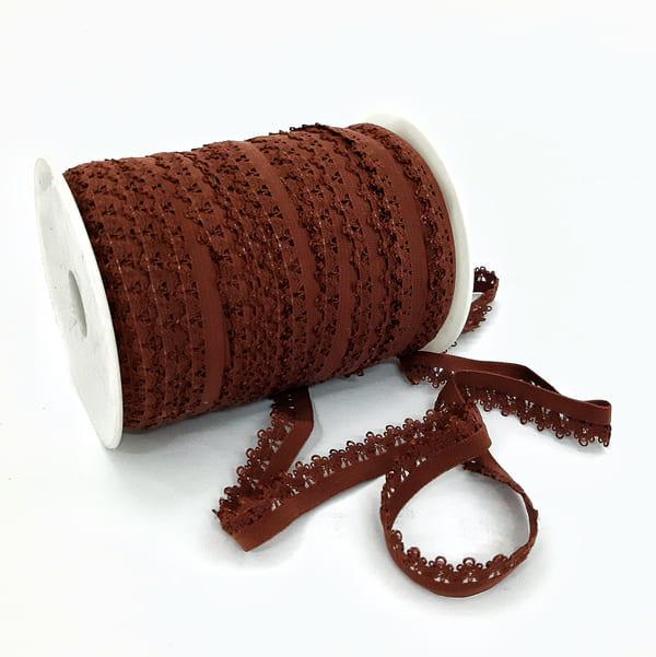 Резинка ажурная бельевая коричневая, 14 мм