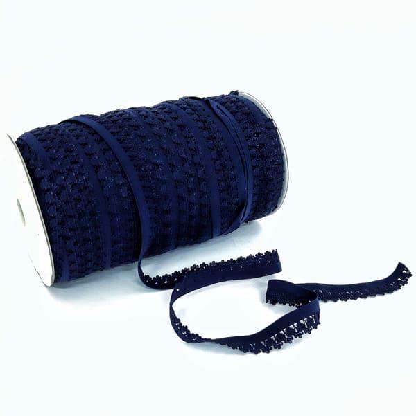 Резинка ажурная бельевая темно-синяя, 14 мм
