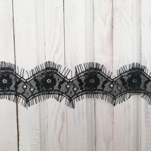 кружево ТТ шантильи, черное,  3-4 см