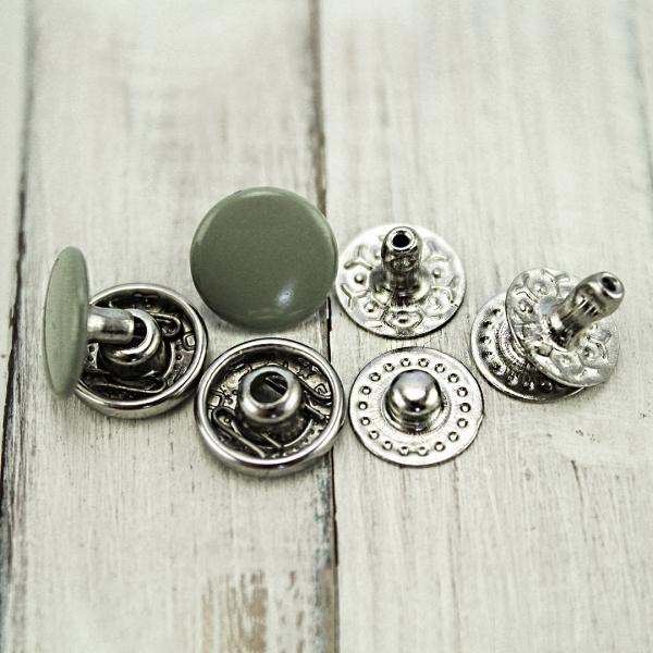 кнопка Альфа серая эмаль, 10 мм