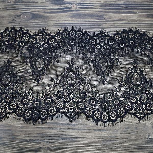 кружево Zira шантильи, черное 23 см