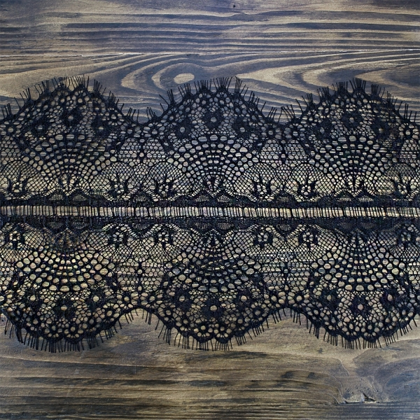 кружево Zira шантильи, черное  20 см