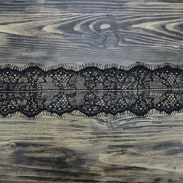 кружево Zira шантильи, черное 8 см