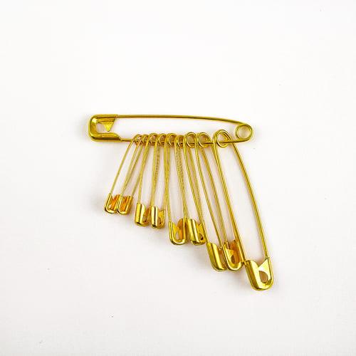 Булавка английская ассорти золото