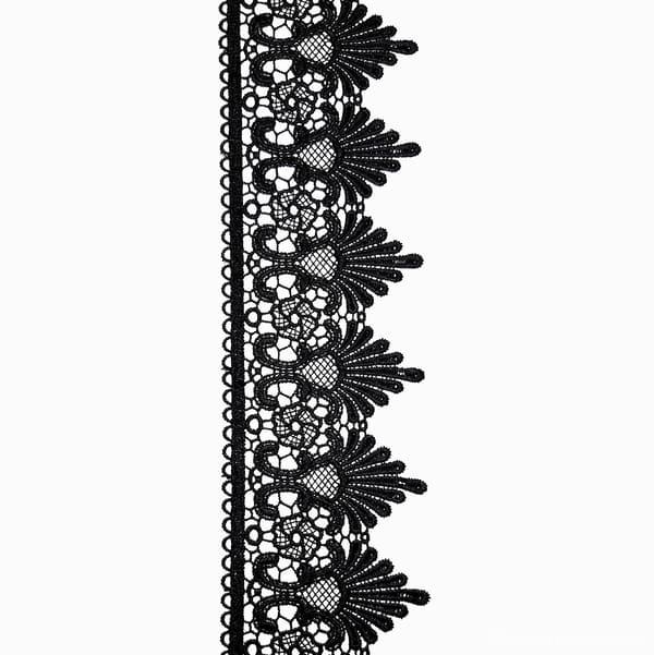 кружево Zira вязаное черное,7-10 см