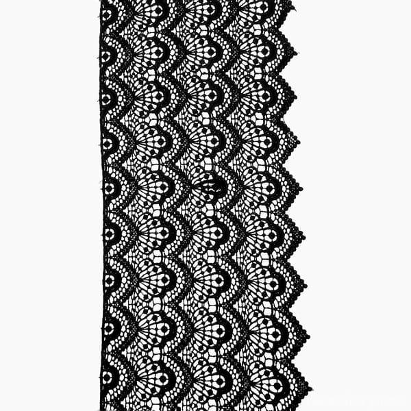 кружево Zira вязаное черное, 21-23 см матовое