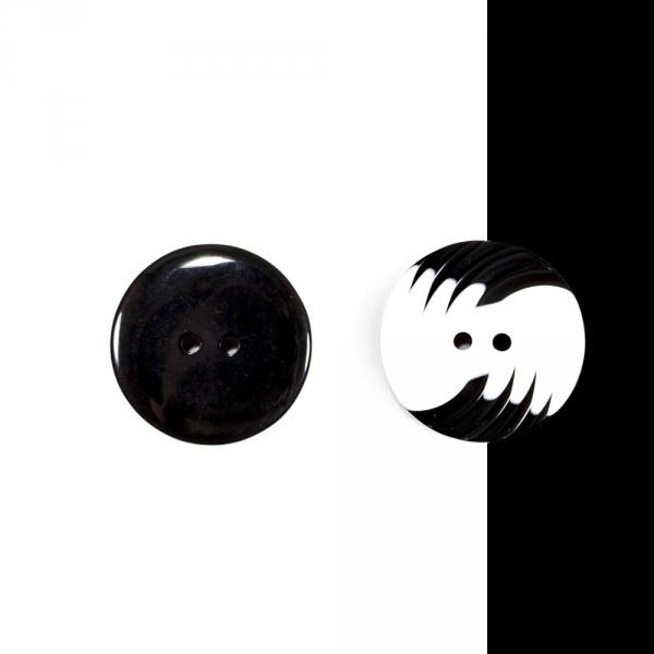 Пуговица черно-белая, 34 мм
