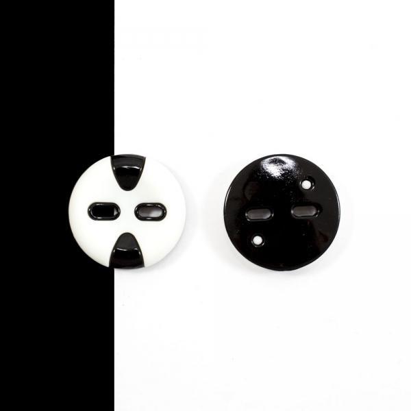 Пуговица белая+черная, 30 мм