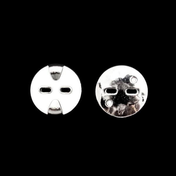 Пуговица белая+никель, 30 мм