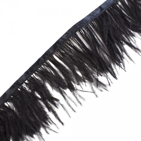 Бахрома страус черная на ленте