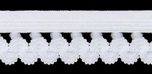 Резинка бельевая ажурная белая, 18 мм