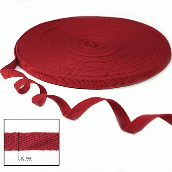 Тесьма х/б (киперная) красная, 10мм