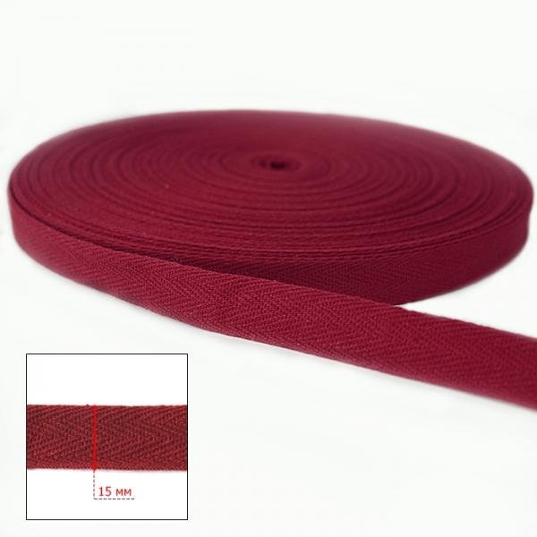 Тесьма х/б (киперная) красная, 15мм