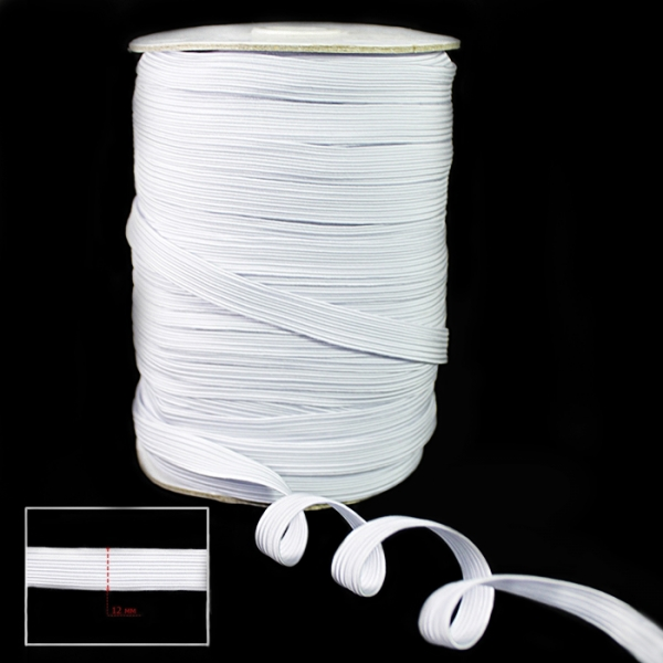 Резинка бельевая 12 мм белая, 85 м