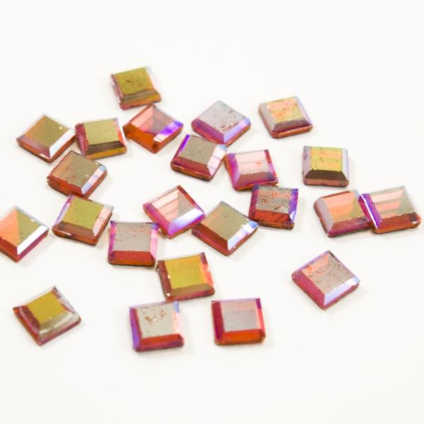 Стразы клеевые квадрат розовые, 6х6 мм