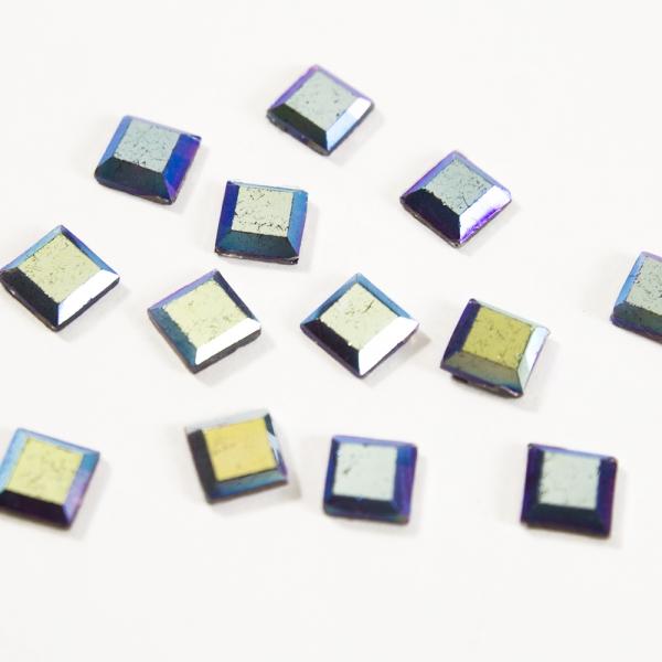 Стразы клеевые квадрат синие, 6х6 мм