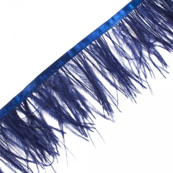 Бахрома страус синий на ленте