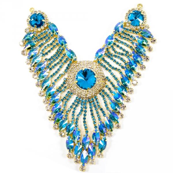 Декор фрагмент золотая основа+ голубые стразы