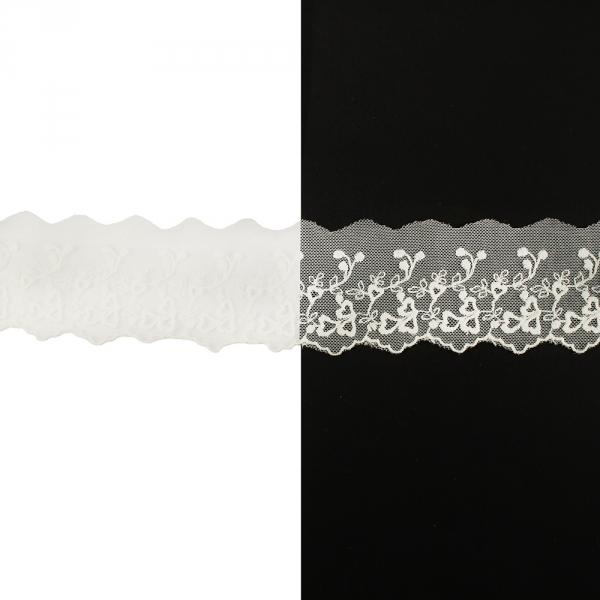 Кружево прошва не отбеленная, основа сетка , 5 см