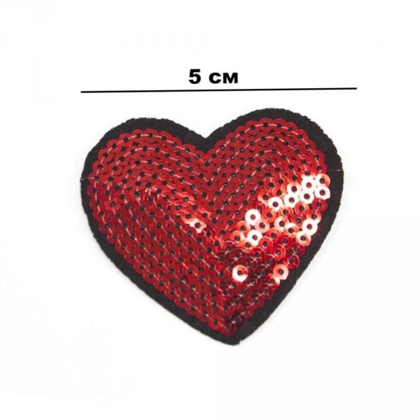 Аппликация клеевая Сердце, из пайеток 5х5 см