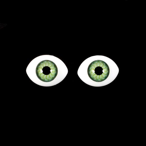 Глаза овальные,зеленые, 14х20 мм