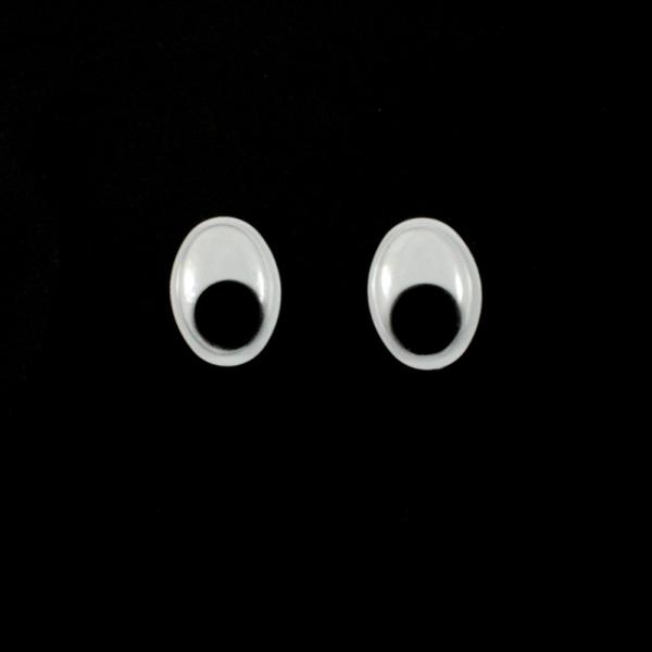 Глазки бегающие,овальные,черные, 12х16 мм