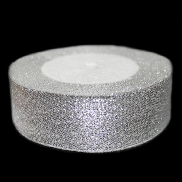 Лента люрексовая серебряная, 25 мм