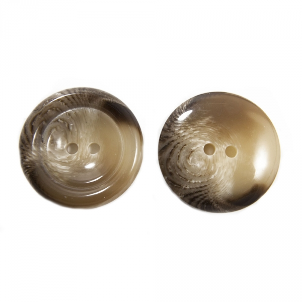 Пуговица бежевая + коричневый, 30 мм