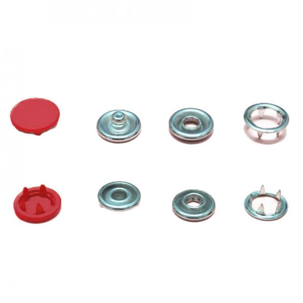 Кнопка трикотажная красная, 9.5 мм