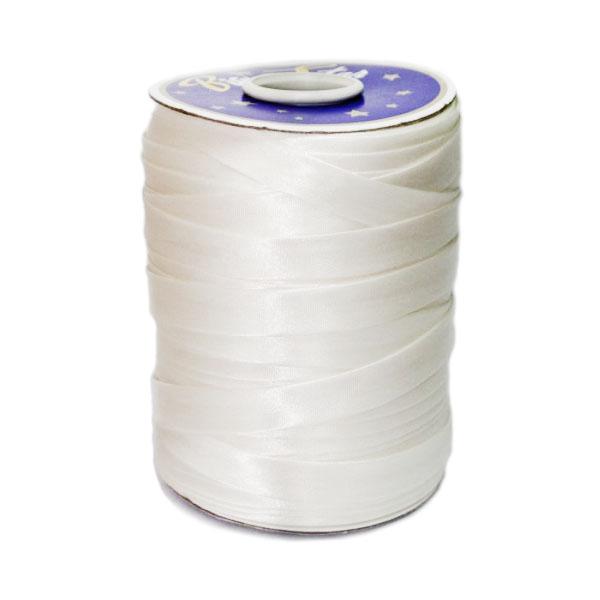 Косая бейка атласная молочная, 16 мм