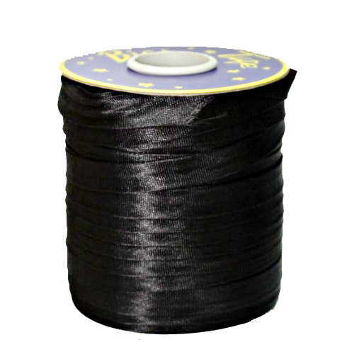 Косая бейка атласная черная, 16 мм