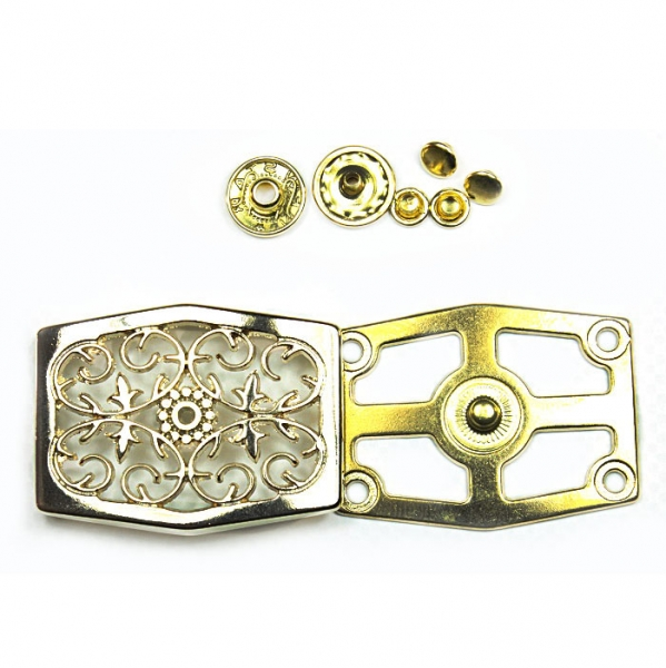 Кнопка ажурная ромб, золото, 4.5х3.3 см
