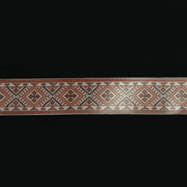Лента сатин с накаткой 2,5 см. 20 м. украинский орнамент.
